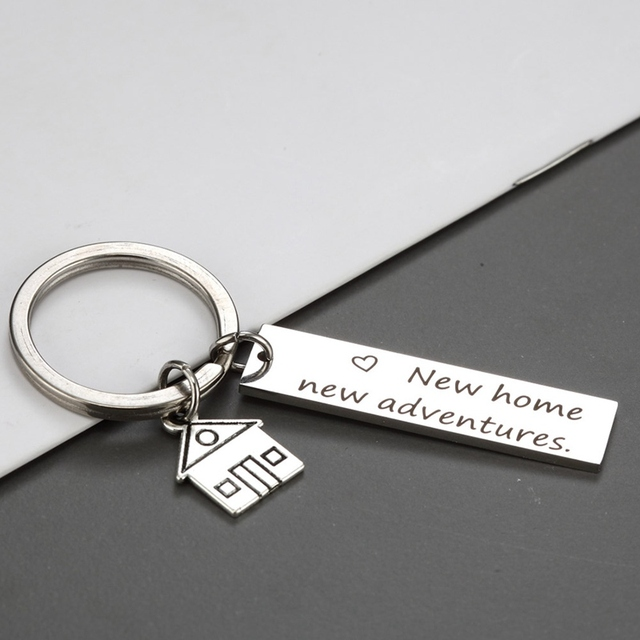 Housewarming Gift For Her Or Him New Home New Adventures Keychain House  Keys Keyring Moving Together First Home Funny Key Chains aff937f79f93