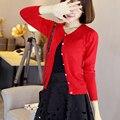 Alta Calidad 2015 nuevas Mujeres de la moda Casual Elegante Suéter Cardigan de Manga Larga Capa de La Chaqueta Outwear Tops Tejer ropa superior sin forro