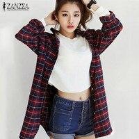 ZANZEA Hot Sprzedaż Kobiety Luźne Bluzki Koszule Kobiet Plaid Koszule Z Długim Rękawem Turn Down Collar Casual Bluzki Blusas Plus Size