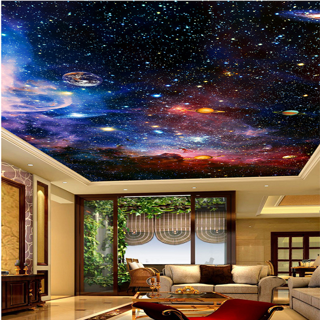 Custom 3D Photo Wall Murals Star Space For Living Room