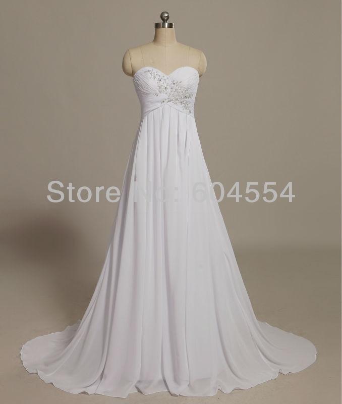 Vestido De Novia 2017 Custom Made White/Ivory Chiffon Applique Beading Lace Beach Wedding Dress Bridal Gowns
