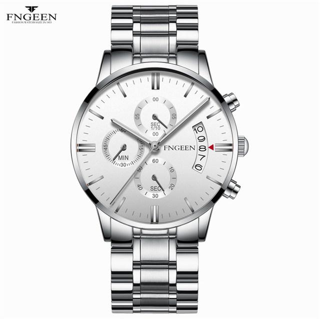 FNGEEN 2019 Quartz Watch Men Business Waterproof Auto Date Watch Male erkek kol saati Auto Date Luxury Men's Watch Watches