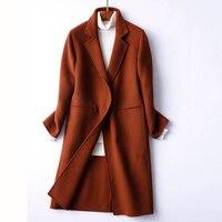Wsfs النساء مكتب الأغنام الصوف المعاطف براون رمادي الدافئة الشتاء سترة واقية خندق طويل لباس 2017 casacos feminino