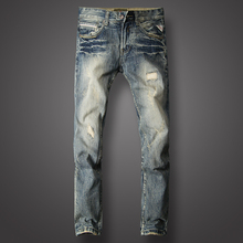 Fashion Streetwear Men Jeans Slim Fit Retro Washed Destroyed Ripped Jeans Patch Embroidery Denim Pants Brand Classical Jeans Men newsosoo fashion men streetwear ripped jeans pants personality distressed patch denim trousers multi zippers patterns embroidery