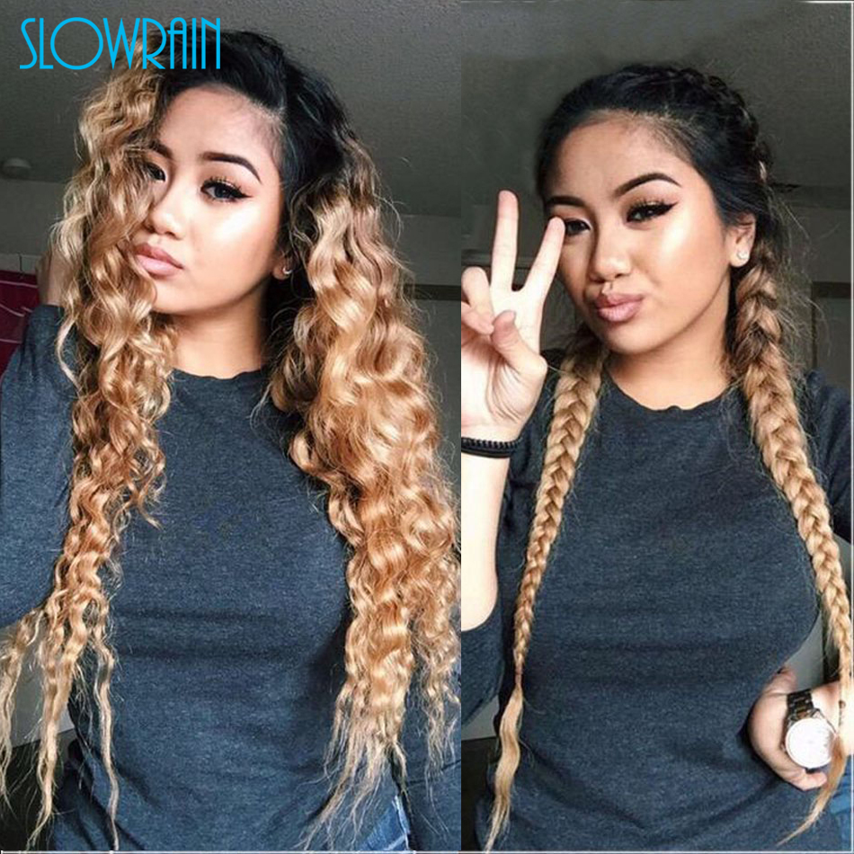 Top Grade #1b/#27 Ombre Color Full Lace Human Hair Wigs 130 Density Loose Wave Lace Wig Two Tone color Full Lace Wigs For Women