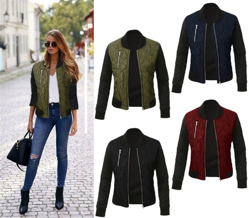 Plus Size Autumn winter Long Sleeve Zipper Up Slim   Jacket   Coat Casual Turtleneck Color Patchwork   Basic     Jackets   Outwear Warm Tops