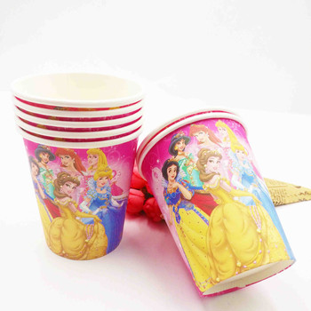 10pcs/set Princess Cartoon Cups Theme Party For kids Happy Birthday Party Decoration Disposable cups Princess Festival Favors image