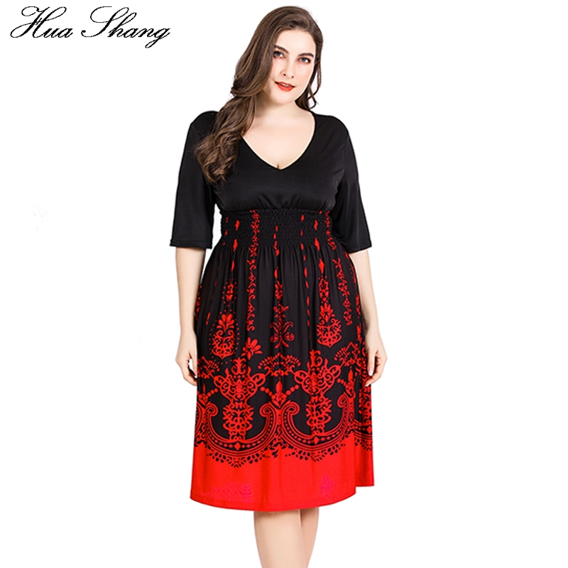 Detail Feedback Questions about Women Dresses Plus Size 5xl 6xl Summer  Ladies V Neck Half Sleeve High Waist Casual Midi Dress Floral Print Tunic  Party ... 9698af4051a7