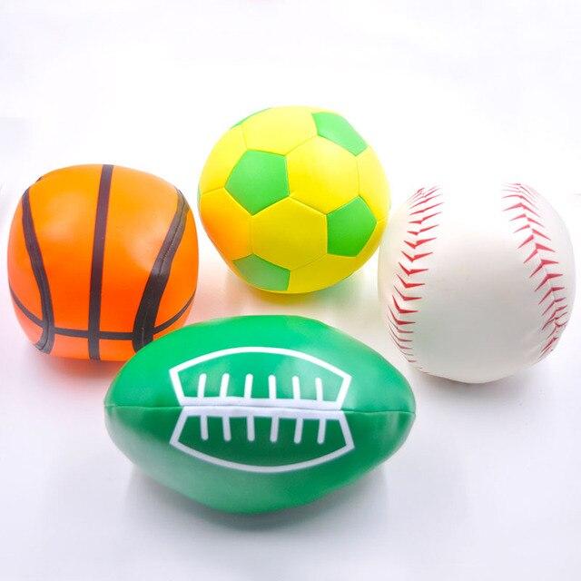 a9496045f7a0b Brinquedos do bebê Bola de Futebol de Couro Macio PU Rúgbi Baseball  Basquete Brinquedos para As