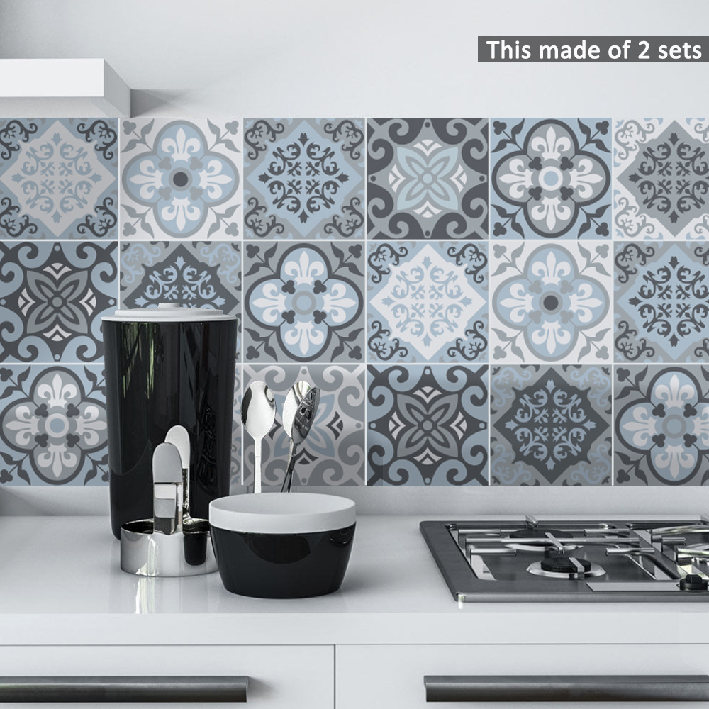 Funlife Blue Tile Wall Self-adhesive Stickers,Adhesive Decal for Kitchen Decoration DIY Waterproof Bathroom Furniture Decor