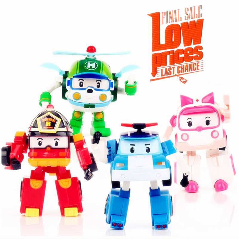 4pcs/Set Korea robot classic plastic Transformation Toys Toys Best Gifs For Kids free shipping Christmas gift #E lps pet shop toys rare black little cat blue eyes animal models patrulla canina action figures kids toys gift cat free shipping