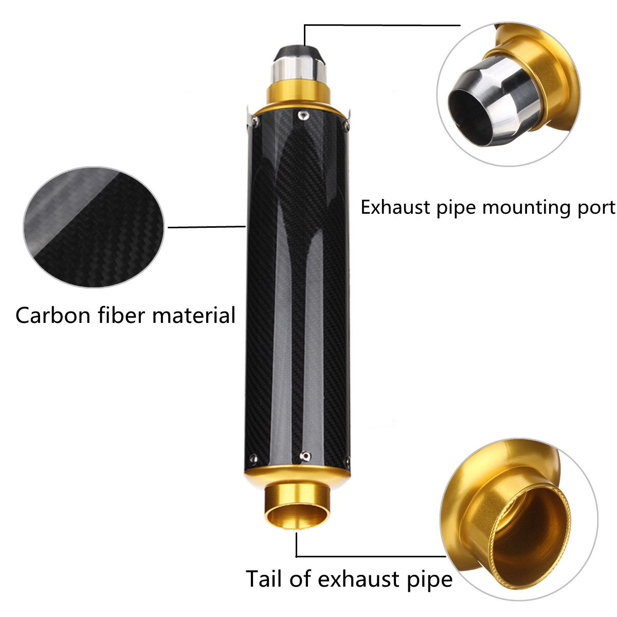51mm Slip-On Carbon Fiber Motorcycle Exhaust Muffler Universal For 125CC-1200CC Street/Sport/Racing motorcycles and Scooters