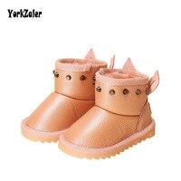 Yorkzaler Winter Children S Boots Waterproof 2018 New Fashion Rivet Rabbit Ear Leather Kids Rubber Boots