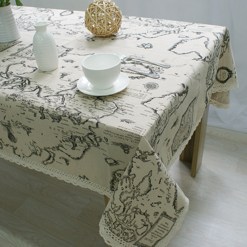 Droping World Map Tablecloth European Functional Table Cloth for Picnic Party Linen Cotton Tablecloths Rectangular Lace Edge