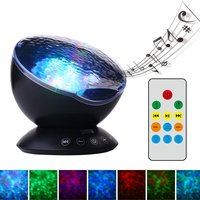 Ocean Wave Projector Music Player Night Light Decorative 7 Colors Changing Nightlight Starry Sky Remote Control Lamp Baby Kids