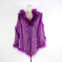 Plus Size Knitted Raccoon Real Fur Coat Women Winter Luxury Stripe Tassel Long Cape with Fur Hood Rabbit Fur Poncho Jacket free shipping kid s100% cashmere cape with real fur trim length 30cm 6inch twisted fur with hood