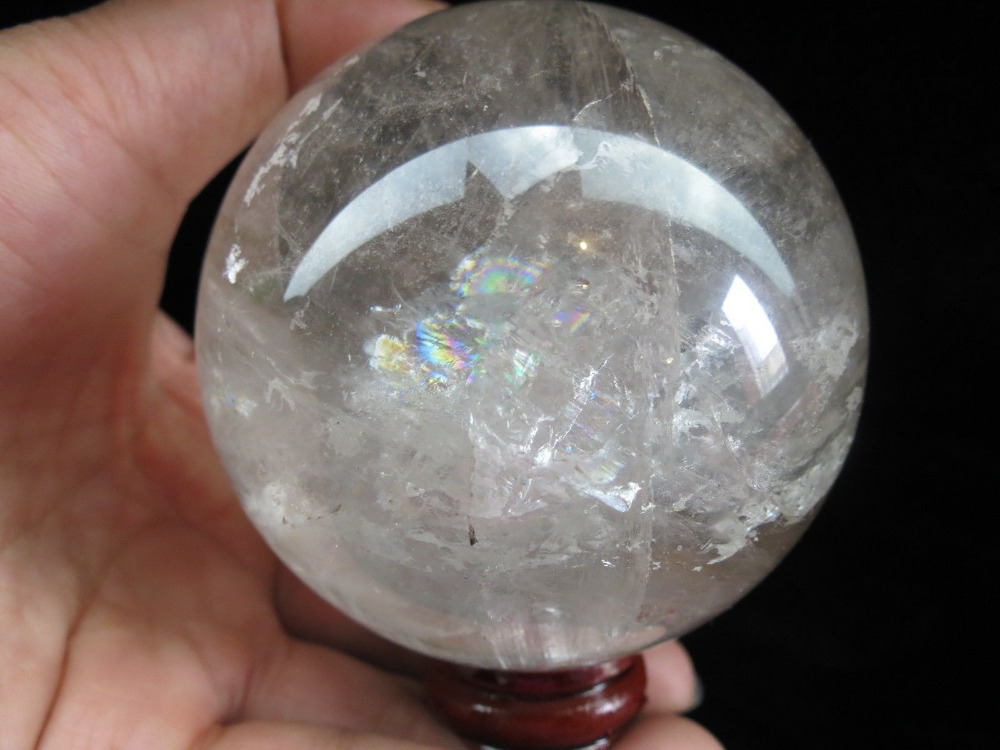 xd j00880  natural rainbow rutilated quartz crystal sphere ball+stand