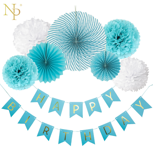 nicro 8pcs diy boy blue birthday banner flower paper fan set tissue