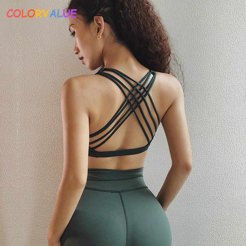 5530f2bbc8 Colorvalue Crisscross Straps Padded Fitness Bras Crop Tops Women Nylon Push  Up Jogger Yoga Sport Bras