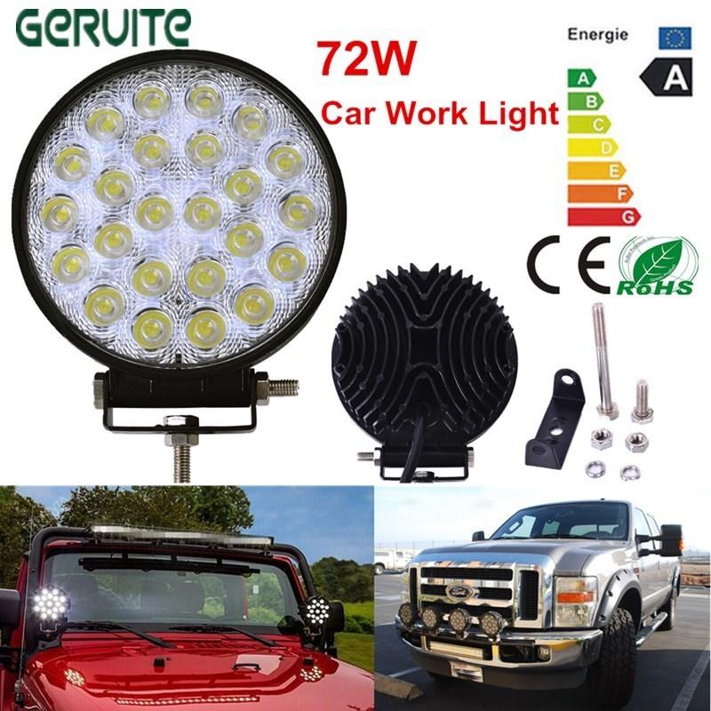 2017 Hot Sale 72W LED Car Lights Round Shape Cool White LED Work Lights 12-24V Waterproof 24 LEDS Offboard Boat Car Lights