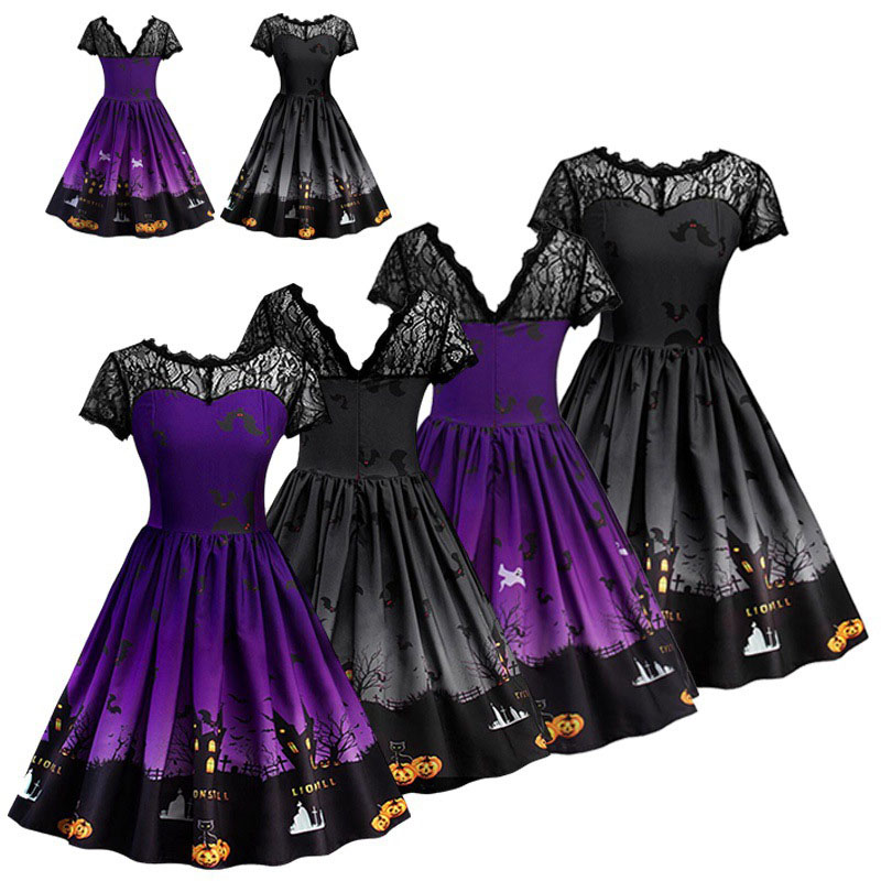 Lady & Teen Girls <font><b>Halloween</b></font> Goth Pumpkin Bat Print Costume <font><b>Dress</b></font> <font><b>Sexy</b></font> Midi V-Neck Lace <font><b>Dress</b></font> Fancy Horror Party <font><b>Dress</b></font> For Women image