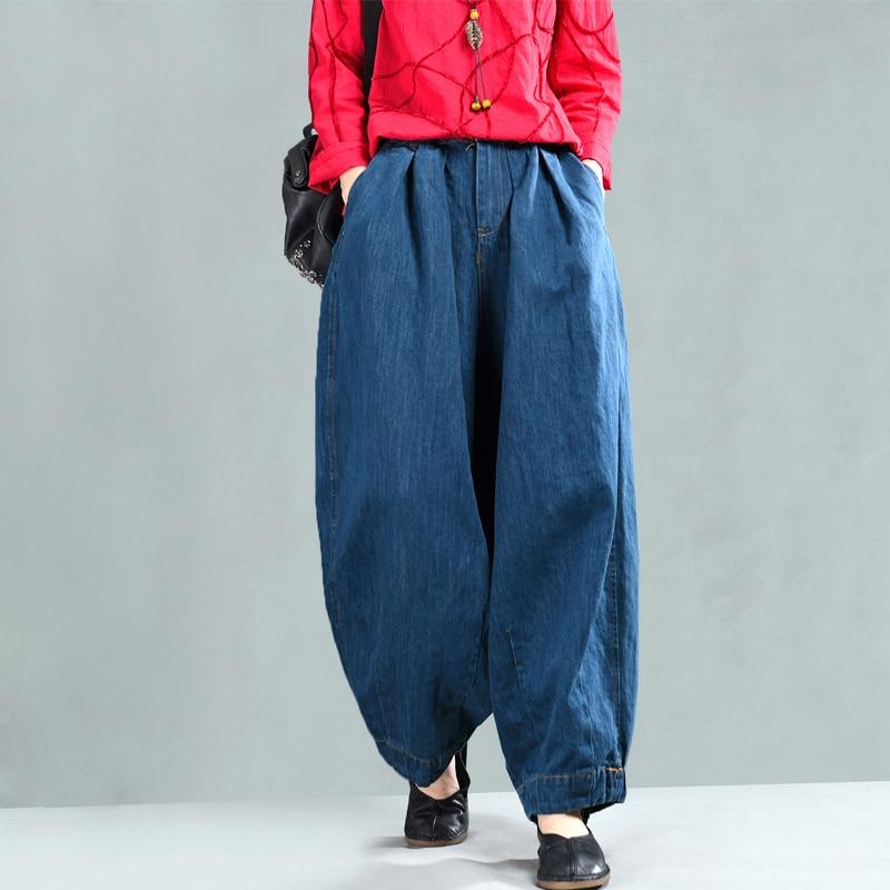 2019 New Women Loose Jeans Casual Denim Harem Pants Plus Size Elastic Waist Washed Jeans Trousers