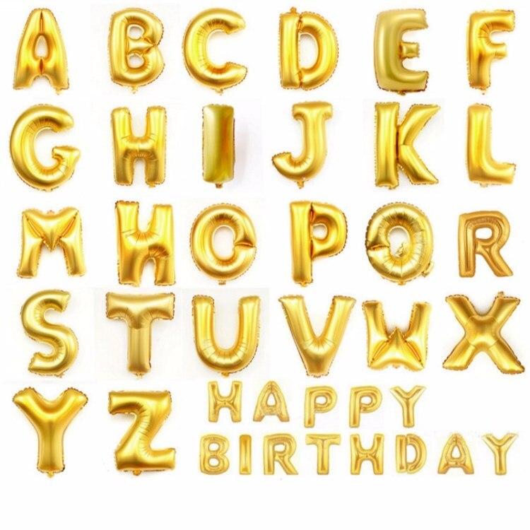 "Alphabet Foil Silvers: 16"" Gold Silver Alphabet Helium Aluminum Foil Balloon 26"