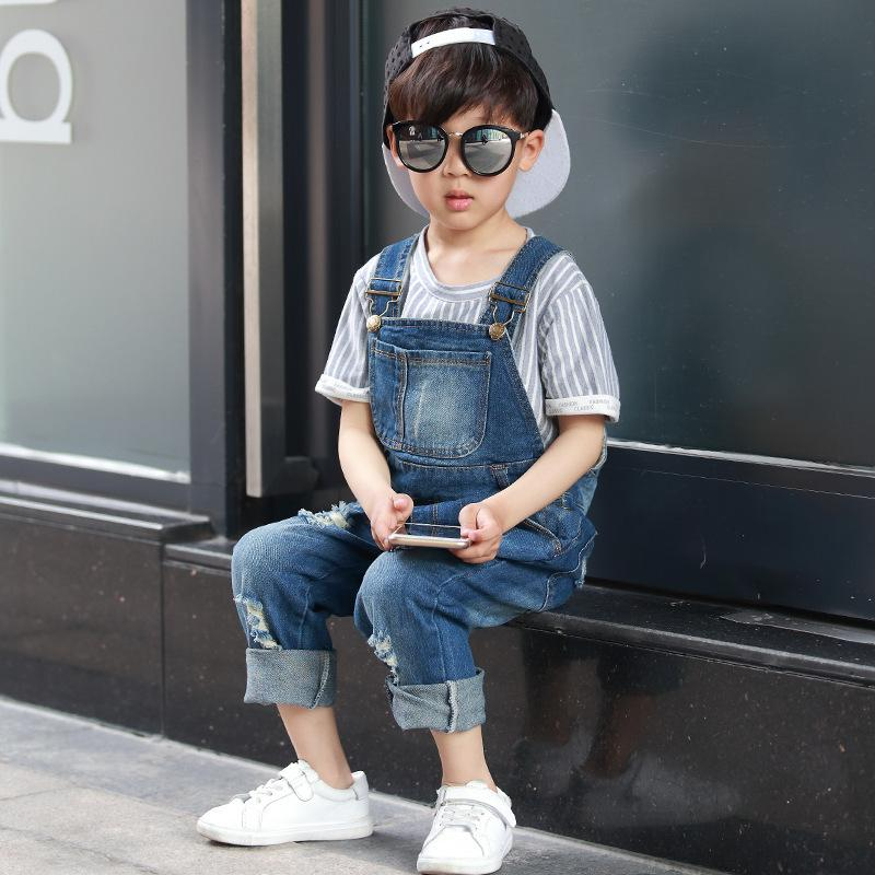 2017 Fashion Brand Kids Jeans Boys Girls Denim Jeans Pants Casual Fashion Children Overall Jeans Hole Child Suspender tangnest stylish distressed women jeans 2017 new fashion brand ripped jean pants capris casual wear denim trousers wkn478