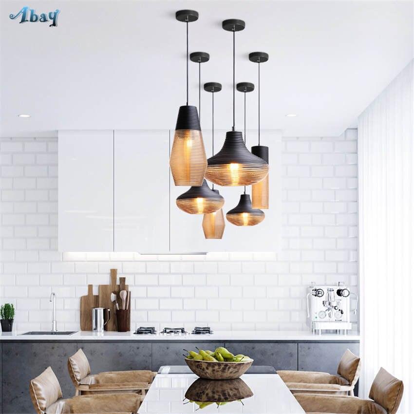 American vintage vis fil teinté verre pendentif lumières pour salon bar art déco salle à manger luminaires led accrocher lampe - 6