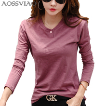 2019 Women Autumn And Winter Casual T-Shirt Fashion One Black Color 0 Neck T shirt Cotton Long Sleeve Tops Green White