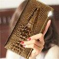 The new crocodile grain ms patent leather wallet female golden leather wallet tide han edition long women's wallet