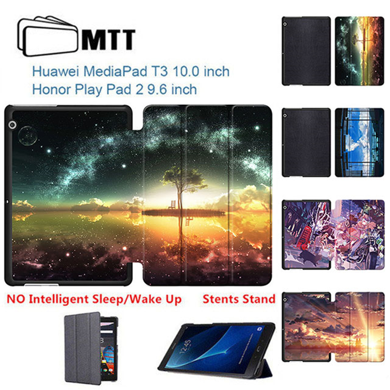 MTT Print Anime Sky Slim PU Leather Case For Huawei MediaPad T3 10 AGS-L09 9.6 Tablet PC stand cover for Huawei T3 9.6 AGS-W09