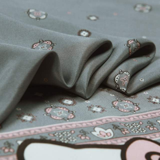 1167b7b6d Pure Silk Crepe De Chine Fabric,Cartoon Hello Kitty  Prints,Smooth,Soft,Grey,Sewing,DIY,Dress,Shirt making.Fabric By The  Piece-in Fabric from Home & Garden ...