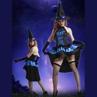 9922 Хэллоуин костюмы ведьм Queen выступлений Карнавальная одежда Для женщин демон костюмы мягкий атласное платье Прихватки для мангала шляпа ...