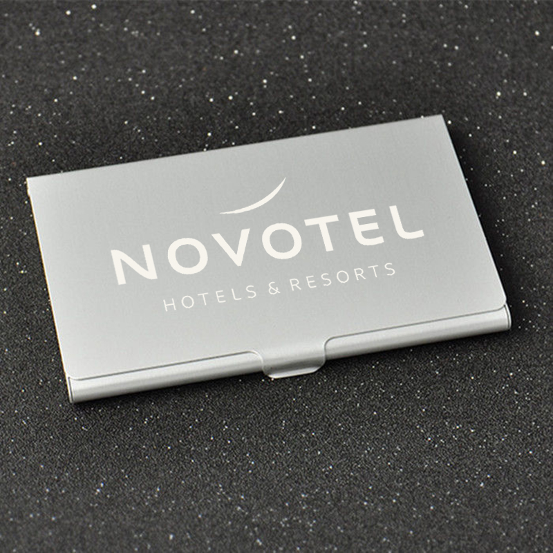 Custom Logo Laser Engraving Metal Aluminum Business Card Case Personalized Business Card Holder Pocket Wallet ID