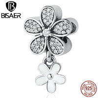 VOROCO 925 Sterling Silver Dazzling Daisy Duo White Enamel Clear CZ Pendant Charms Fit Bracelets Necklaces