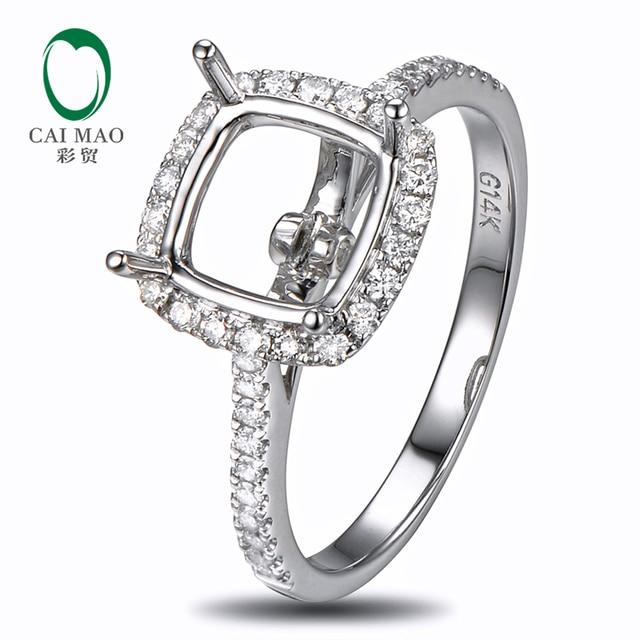 Caimao 8.5mm Cushion Cut Semi Mount Setting Ring 14K White gold Natural 0.37ct Diamond Engagement Jewelry
