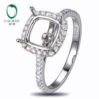 Caimao 8 5mm Cushion Cut Semi Mount Setting Ring 14K White Gold Natural 0 37ct Diamond