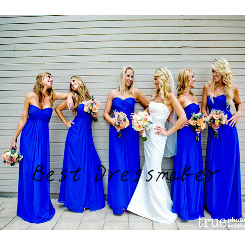 Royal Blue Sweetheart A Line Long Bridesmaid Dresses Cute Wedding Party Dress Chiffon Floor Length In From