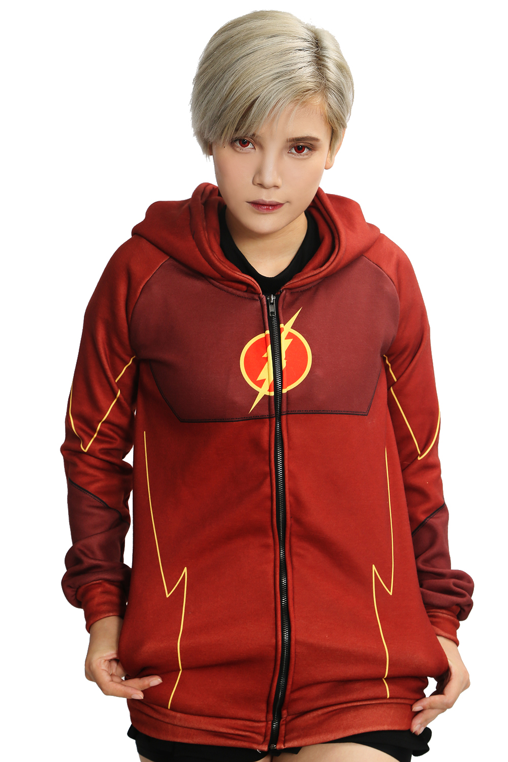 Xcoser The Flash Hoodie The Flash season 2 Cosplay Costume Suit Barry Allen Classic Red Zip Up Hoodie Daily Coat