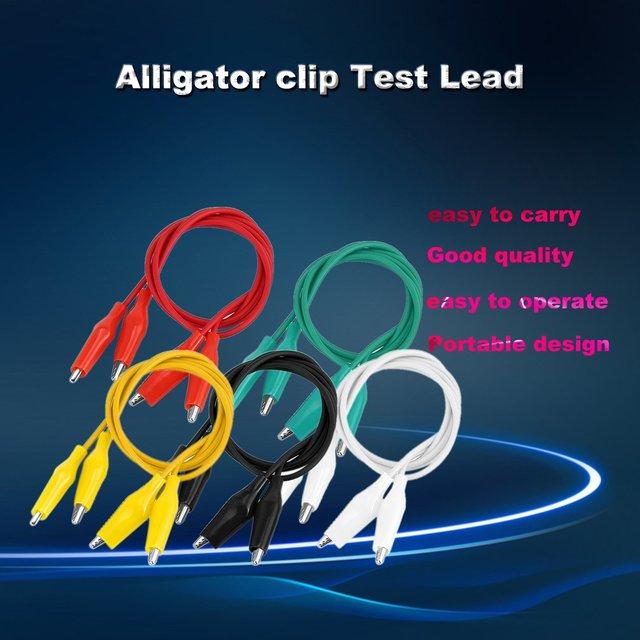 10pcs/lot Small Colorful Crocodile Clamp Test Line 50cm Double Head Maintenance Traverse Crocodile Cable Alligator Jumper Wire