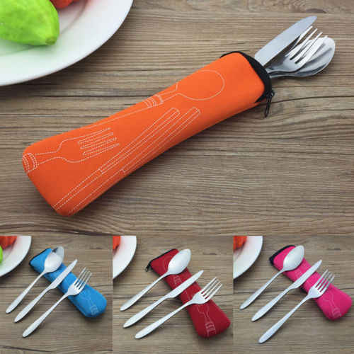 3pcs Stainless Steel Foldable Camping Spoon And Fork Knife tableware Utensil Set+Bag