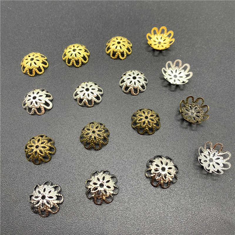 100pcs 15x15mm Jewelry Findings Alloy Beads Cap Ancient Charms Flower Shape Pendant Charms For Jewelry Making DIY Accessories