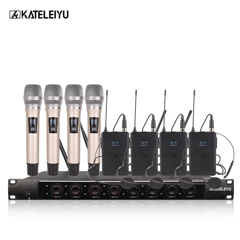 System 8600F Professional Wireless Microphone 8 Channel Professional VHF 8 Stage Karaoke Microphone Handheld Wireless Microphone ur6s professional uhf karaoke wireless microphone system 2 channels cordless handheld mic mike for stage speech ktv 80m distance