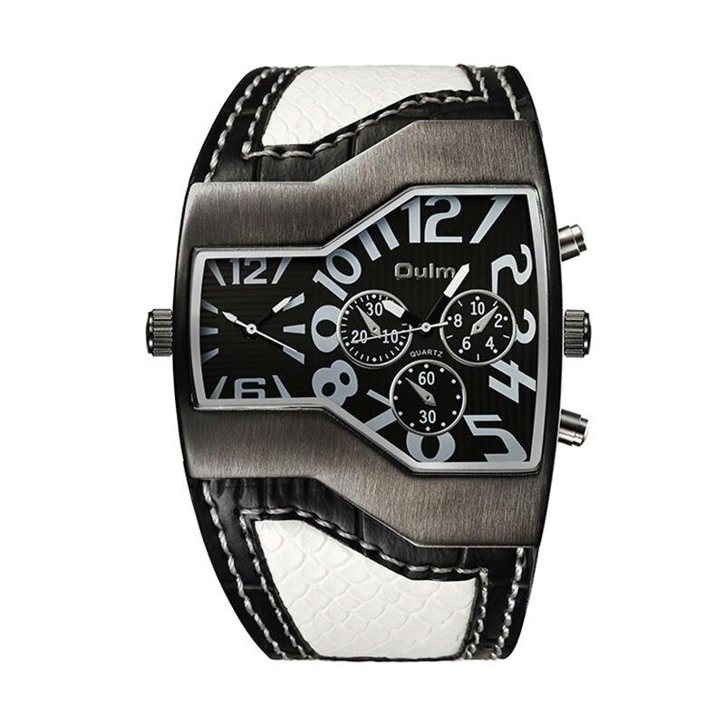 Luxusní náramkové hodinky Japonské Quartz Double Time Pánské vojenské Snake Kožený opasek Mužské reloges masculino oulm 1220 Brand Watchwatches