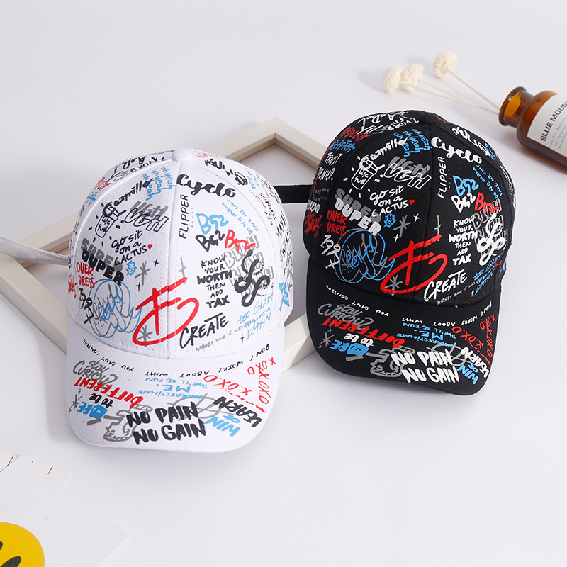 Quan Zhilong graffiti   baseball     cap   letters embroidered Korean Harajuku men and women couples travel bent Hat   Cap   new