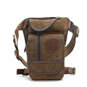 AOLAILUD холст нейлон мужская хип поясная сумка на талию ноги подвешиваемая сумка для верховой езды мотоцикл бум бедра мужская сумка через плеч... >> East Asia Leather store