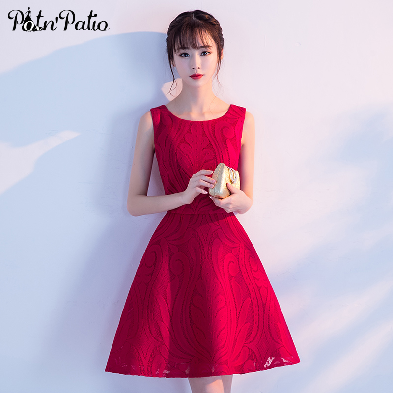 PotN'Patio Shoulder Straps Sleeveless Elegant Short Bridesmaid Dresses 2017 New Red Wedding Party Dress