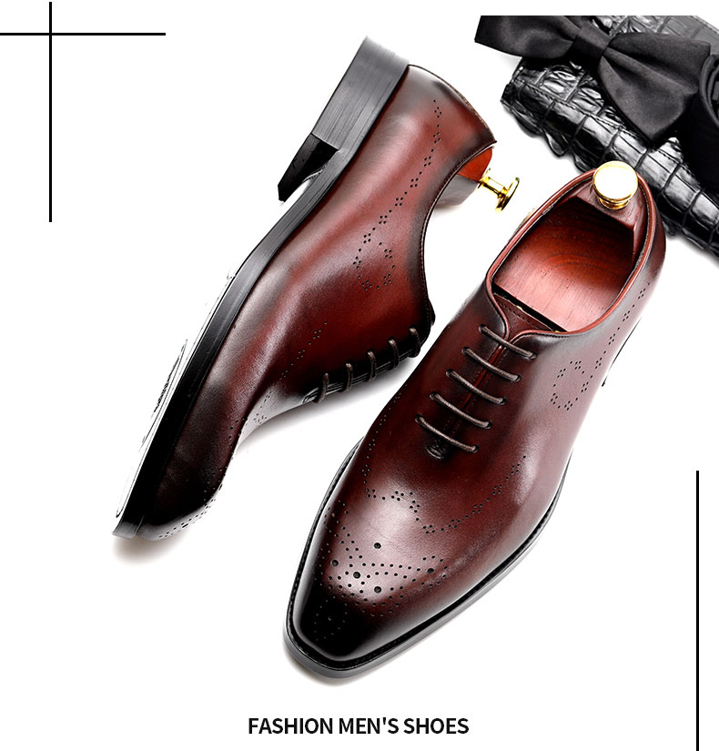 New Spring Summer Man Slip On Leather Shoes Full Grain Leather Pointed Toe Oxfords Formal Dress Wedding Shoes Men's Shoes