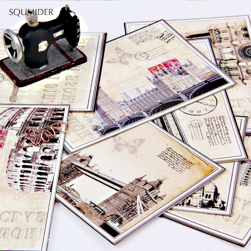 SQUMIDER 9PCS 4 Patterns Postcard Cartoon European Classical  Card Greeting Card Christmas Teacher's Day Letter Paper  Gift